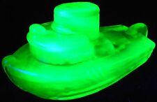 Green Vaseline glass Teddy Tugboat boat toy ship sea ocean uranium yellow glows