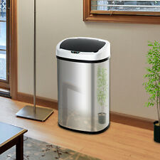 HOMCOM Sensor Dustbin Touchless Trash Can Automatic Stainless Steel 48L