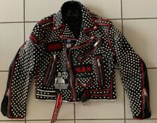 Leather Studded Punk Motor Cycle Jacket Patches Painted Exploited G.B.H. Size 42