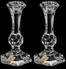 Pair of Crystal Glass Candlesticks 24% Lead Crystal Candle Holder, 14cm Tall