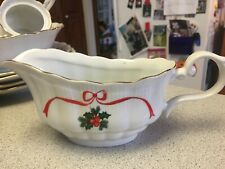 Walbrzych China HOLIDAY RIBBONS & HOLLY BASKET of CHEER Gravy Boat Poland