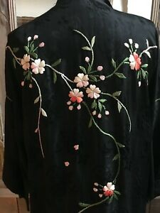 vintage silk Chinese embroidered robe
