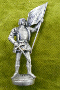 #D123.  115mm tall METAL FIGURE OF CHRISTOPHER COLUMBUS - APPEARS TO BE PEWTER