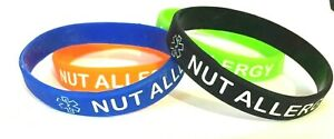 KIDS SIZE - Nut Allergy Medical Alert Silicone Wrist Band Bracelet UK SELLER