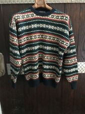 Vintage Ski Roundtree And Yorke Sweater Mens L Red Green blue F1