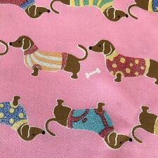 Pink Dachshund Dogs Fabric 1 Yard Sparkly Sweaters Doxie Dog Design 40 x 43