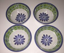 Cynthia Rowley Medallion Floral MELAMINE Cereal  Salad Bowls Green Blue Set Of 4