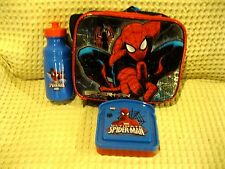 Spiderman Lunch box Lunch Bag with Spiderman Water Bottle+Sandwich Container-New