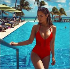 US Women Sexy V-neck Swimsuit Push Up Bikini Swimwear Bathing One Piece Monokini
