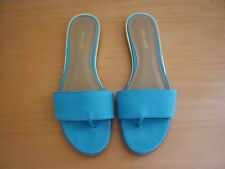 WOMEN'S NINE WEST AQUA/LIGHT BLUE LEATHER OPEN TOE SLIDES SANDALS - SIZE 10M