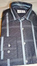 "ADAM OF LONDON SMART CLASSIC DESIGNER GREY PATTERNED DRESS SHIRT UK 15.5"" EU 39"