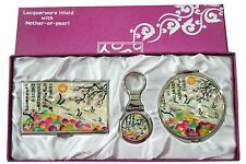 Business card holder ID case Makeup compact mirror keychain ring gift set #34-1