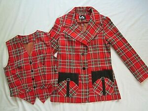 Jack Winter 70's Vintage Blazer & Vest  Sz 10 Red Tartan Plaid Polyester Jacket