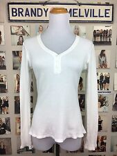 Brandy Melville White Waffle print Button Scoop Neck long sleeve thermal top Nwt