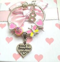 Personalised girls kids butterfly muffin heart age charm bracelet in gift box