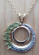 0.63ctw GENUINE PERIDOT & DIAMOND DOUBLE CIRCLE PENDANT NECKLACE NEW