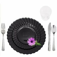 180 Full Table Setting Elegant Black Dinner + Salad Plates + Cutlery + Cups
