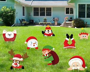 Yard Signs Stakes 8 Pcs Christmas Decorations Xmas Outdoor Lawn Decor Ornaments