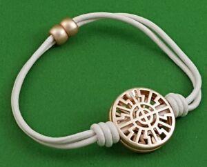Soft Pink / Tan Leather Cord Rose Gold Geometric Circle Charm Bracelet Magnetic