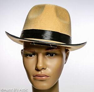 Fedora Hat 20's-30's Style Beige Pressed Felt Gangster/Mobster Costume Hat Lg