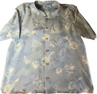 Tommy Bahama Men's S/S Silk Shirt Floral Hawaiian Aloha Blue Large