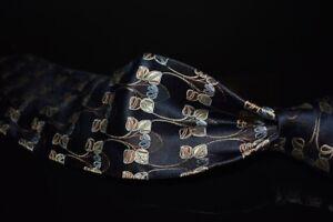 Ermenegildo Zegna Thick Woven Black Satin Brown Deco Lotus Floral Silk Tie Italy
