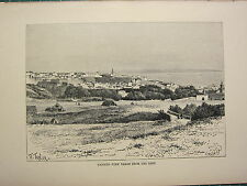 c1890 ANTIQUE PRINT ~ TANGIER VIEW FROM THE EAST ~ AFRICA