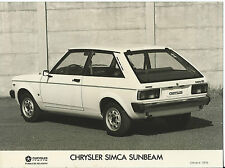 Chrysler Simca Sunbeam Original Italian Market Press Photograph 1978