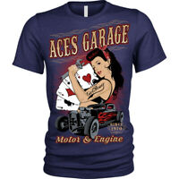Aces Garage Rockabilly Pinup hotrod American usa T-Shirt Unisex Mens