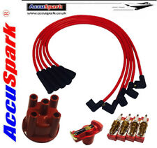 Ford Crossflow, HT Leads, AC9C Sparkplugs, Red Rotor & Distributor Cap for Bosch