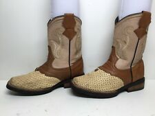 Girls Unbranded Square Toe Cowboy Ivory Boots Size 3?