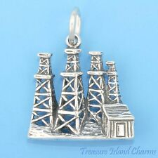 OIL WELL TOWERS RIG DERRICKS .925 Sterling Silver Charm Pendant Derrick USA MADE