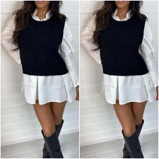 Women's Ladies Puff Sleeve Contrast Shirt Jumper Mini Dress 8-14