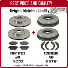 FRONT BRAKE DISCS & PADS AND REAR DRUMS & SHOES FOR KIA RIO 1.5 7/2001-7/2002