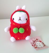 Molang strawberry podgy potato rabbit cute kawaii kitsch 12cm plush with clip
