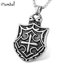 MENDEL Knights Templar Necklace Masonic Shield Cross Pendant Stainless Steel Men