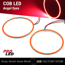 2x Angel Eyes COB Halo Ring Red 70mm LED Light Headlight Fog Housing