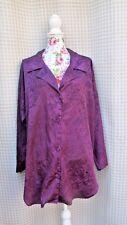 VICTORIA SECRET Vintage Gold Label Purple Paisley Button Robe Nightshirt SZ M/L