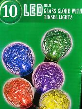 10 LED Multi Color Glass Globe w Tinsel Lights Christmas Wedding Patio Lights