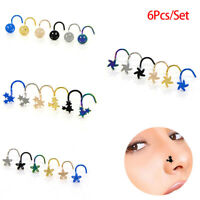 6XColorful Surgical Steel Nose Studs Screw Ring Bone Bar Pin Piercing Jewelry RF