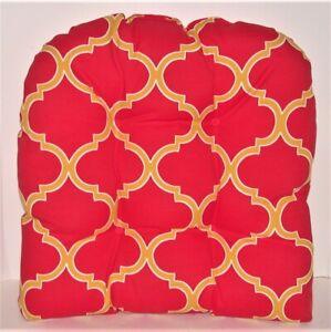"Resort Spa Wicker Seat Pad ~ Arabesque Yellow & Red ~ 19"" x 19"" x 3.5"" NEW"