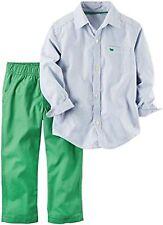 New Carter's Boys White Blue Striped Dress Shirt & Pants Set Outfit 12m NWT