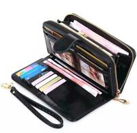 Women Zipper Long Leather Wallet Card Holder Phone Bag Case Lady Purse Handbag A