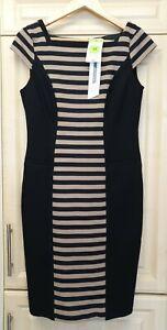 Ladies Marks & Spencer Dress With Stretch Black/Beige UK12 BNWT