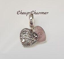 Genuine Authentic Pandora Love Makes A Family Pendant Charm Heart Pink S925 ALE