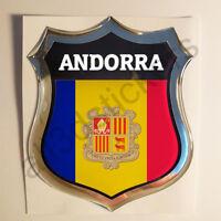 Pegatina Andorra 3D Escudo Emblema Vinilo Adhesivo Resina Relieve Coche Moto