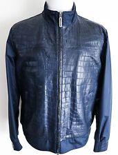$32750 NEW STEFANO RICCI Blue Rare Silk Crocodile Leather Jacket 52 Euro Large