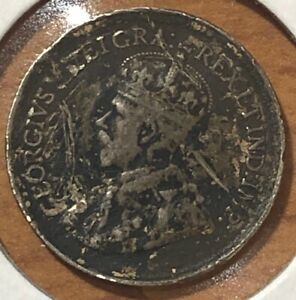 1919 ~ CANADA ~ 5 CENTS ~ GEORGE V ~ F12 Condition