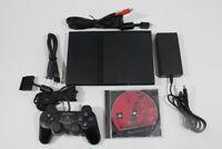 Sony PS2 Slim Black Console Cont AC AV Saint Seiya Bundle Scratches Japan 2PC39M
