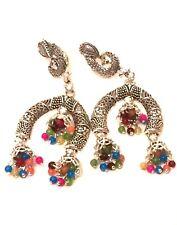 Womens Big Large STATEMENT Silver Multi Coloured BEADED Drop Dangle Earrings UK